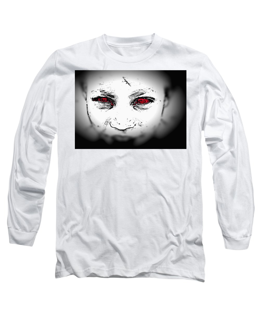 Eyes Face Looks Black And White Red Long Sleeve T-Shirt featuring the digital art Untitled by Veronica Jackson