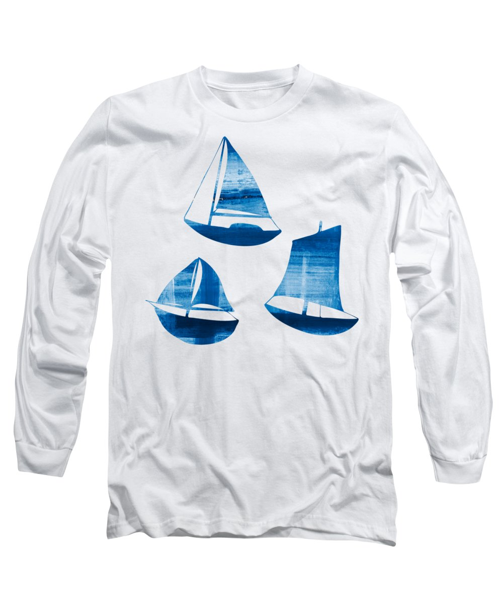 Frank Tschakert Long Sleeve T-Shirt featuring the painting 3 Little Blue Sailing Boats by Frank Tschakert
