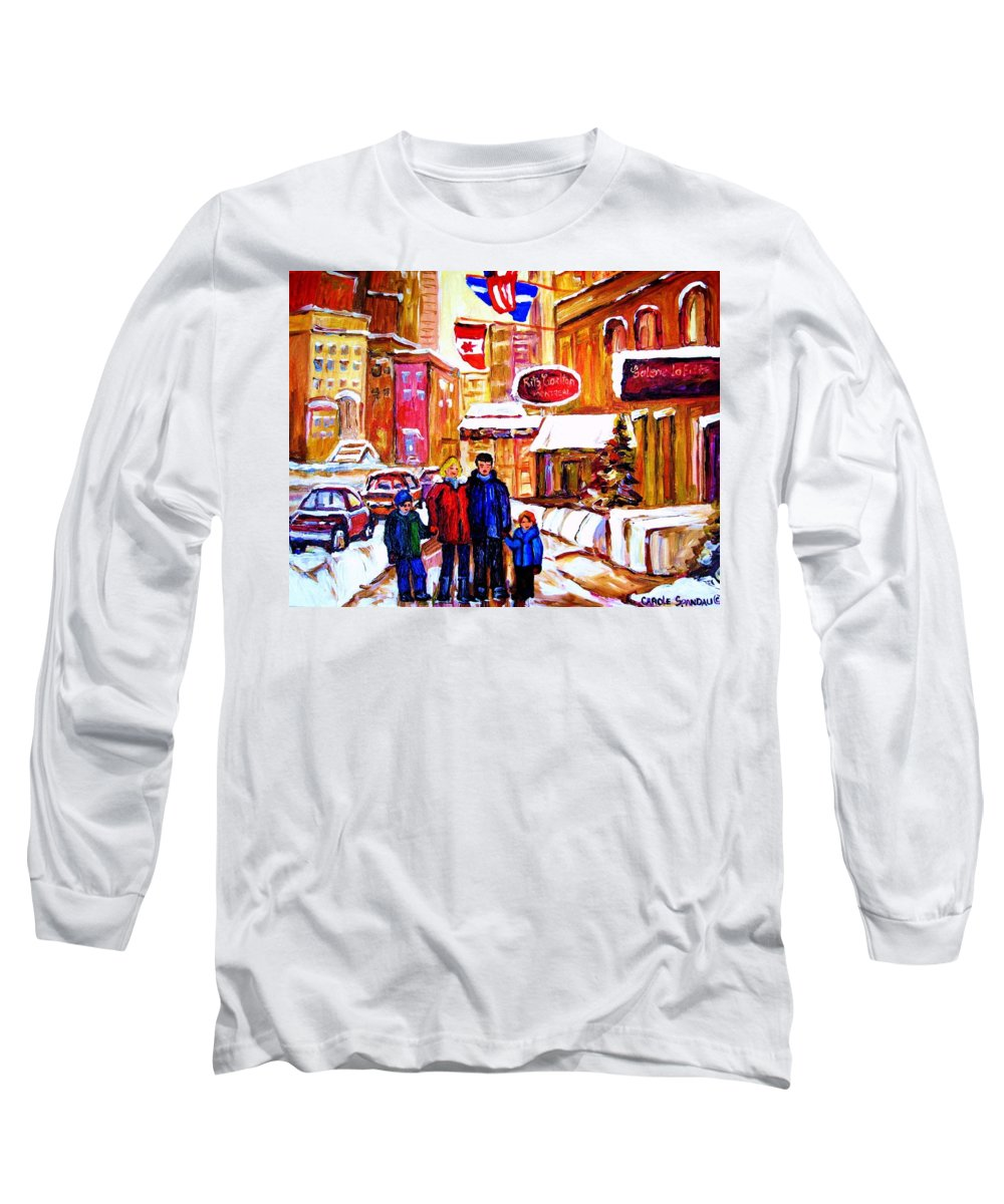 Montreal Long Sleeve T-Shirt featuring the painting Montreal Street In Winter by Carole Spandau