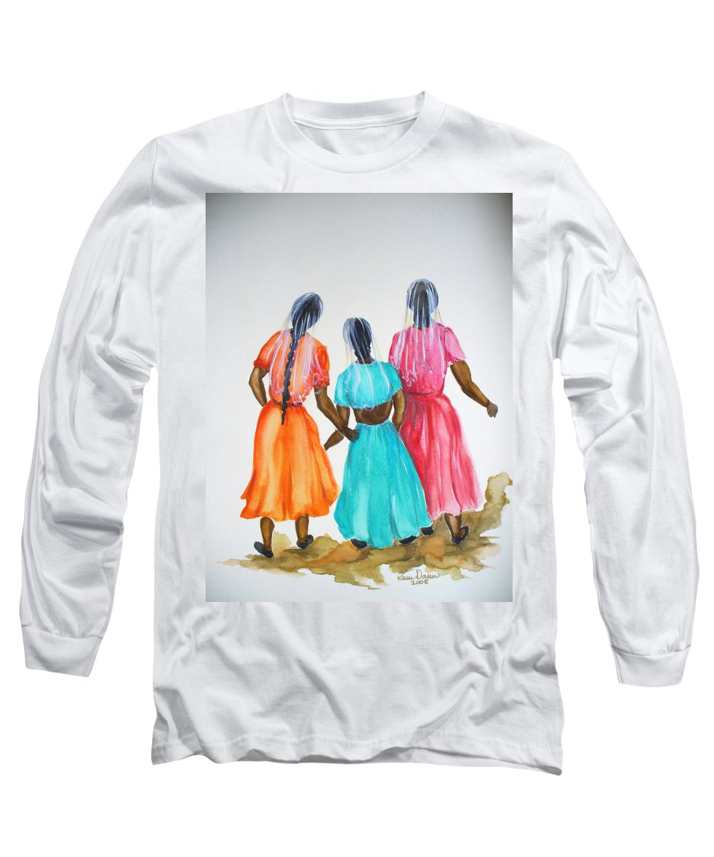 Three Ladies East Indian Long Sleeve T-Shirt featuring the painting 3bff by Karin Dawn Kelshall- Best
