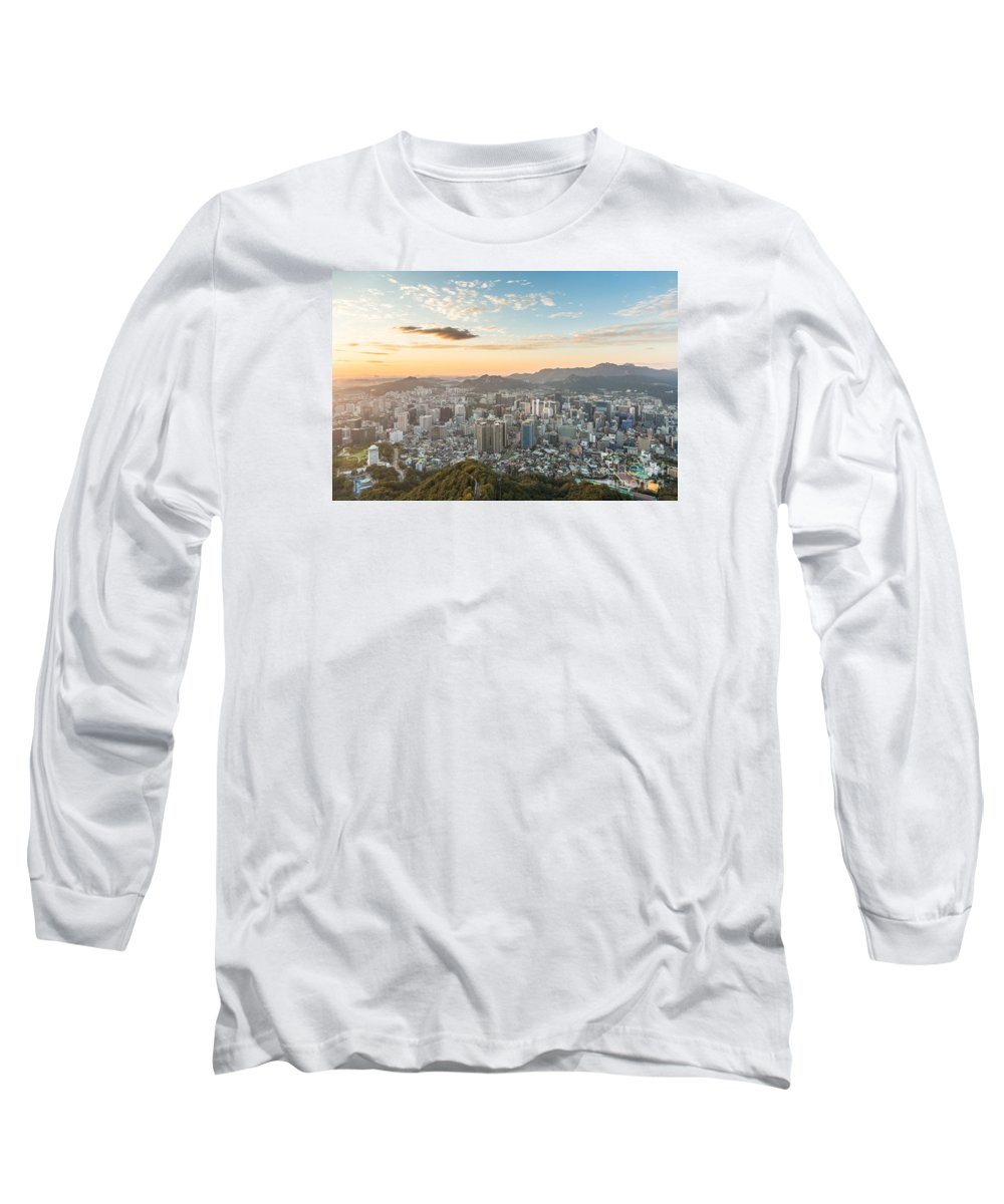 Aerial Long Sleeve T-Shirt featuring the photograph Sunset Over Seoul by Didier Marti