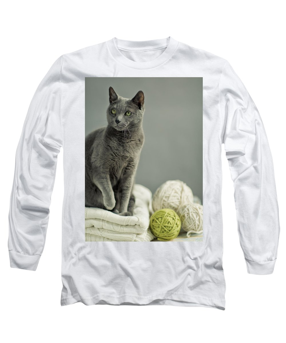 Purebred Long Sleeve T-Shirt featuring the photograph Russian Blue by Nailia Schwarz