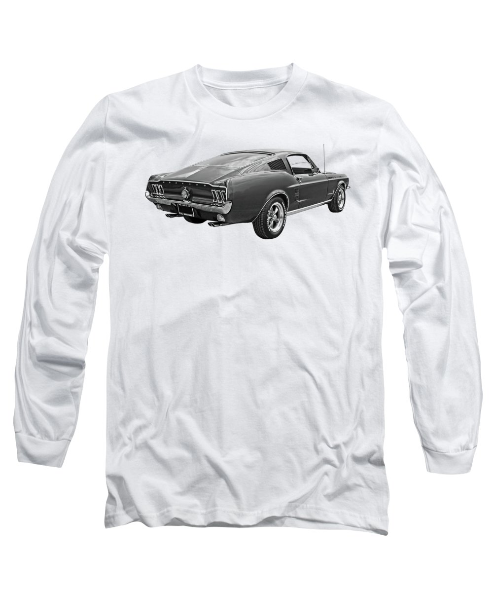 Ford Mustang Long Sleeve T-Shirt featuring the photograph 67 Fastback Mustang In Black And White by Gill Billington