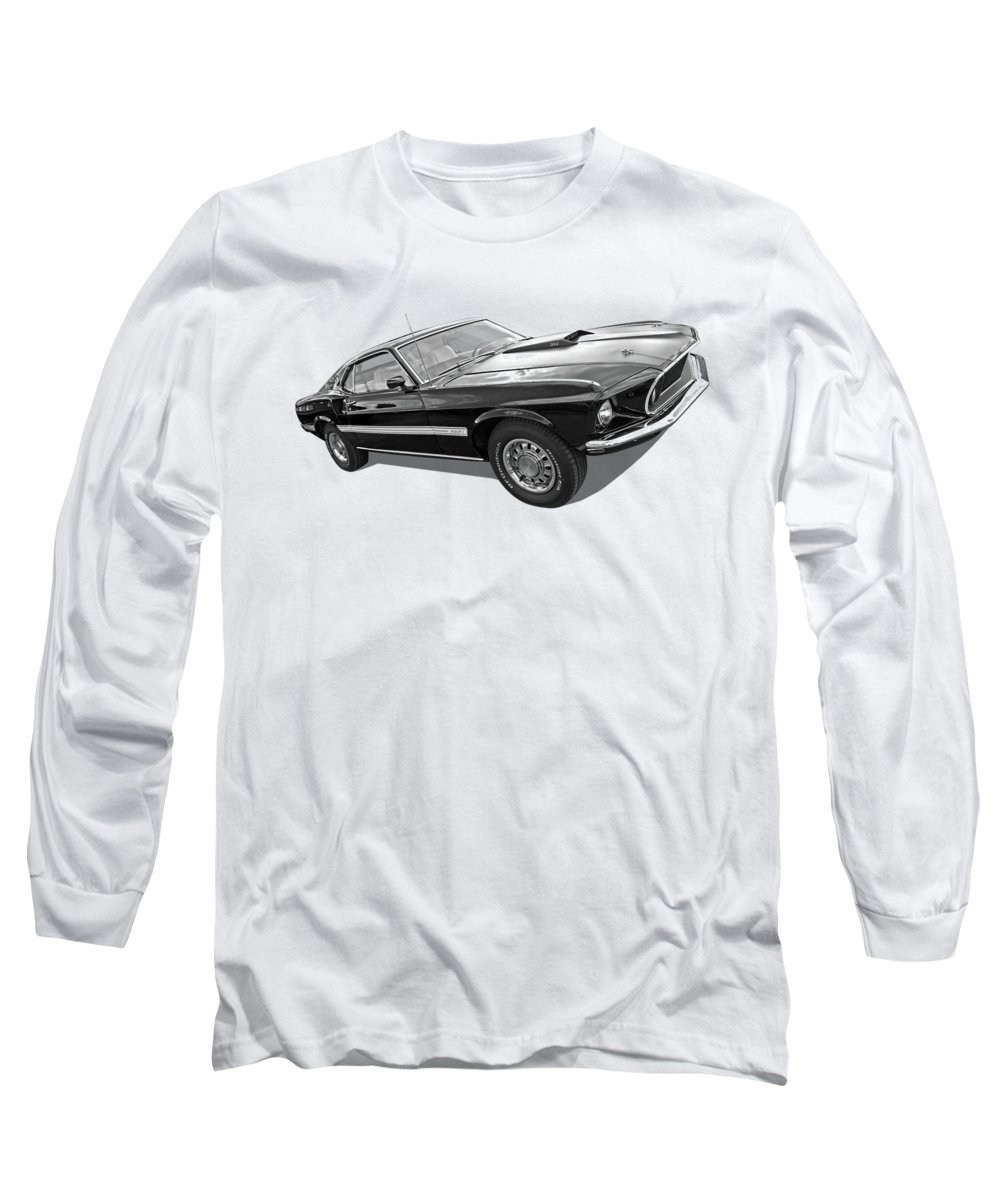 Classic Ford Mustang Long Sleeve T-Shirt featuring the photograph 69 Mach1 In Black And White by Gill Billington