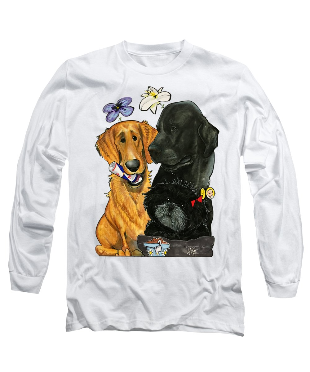 Pet Portrait Long Sleeve T-Shirt featuring the drawing 7-1396 Scallon by John LaFree