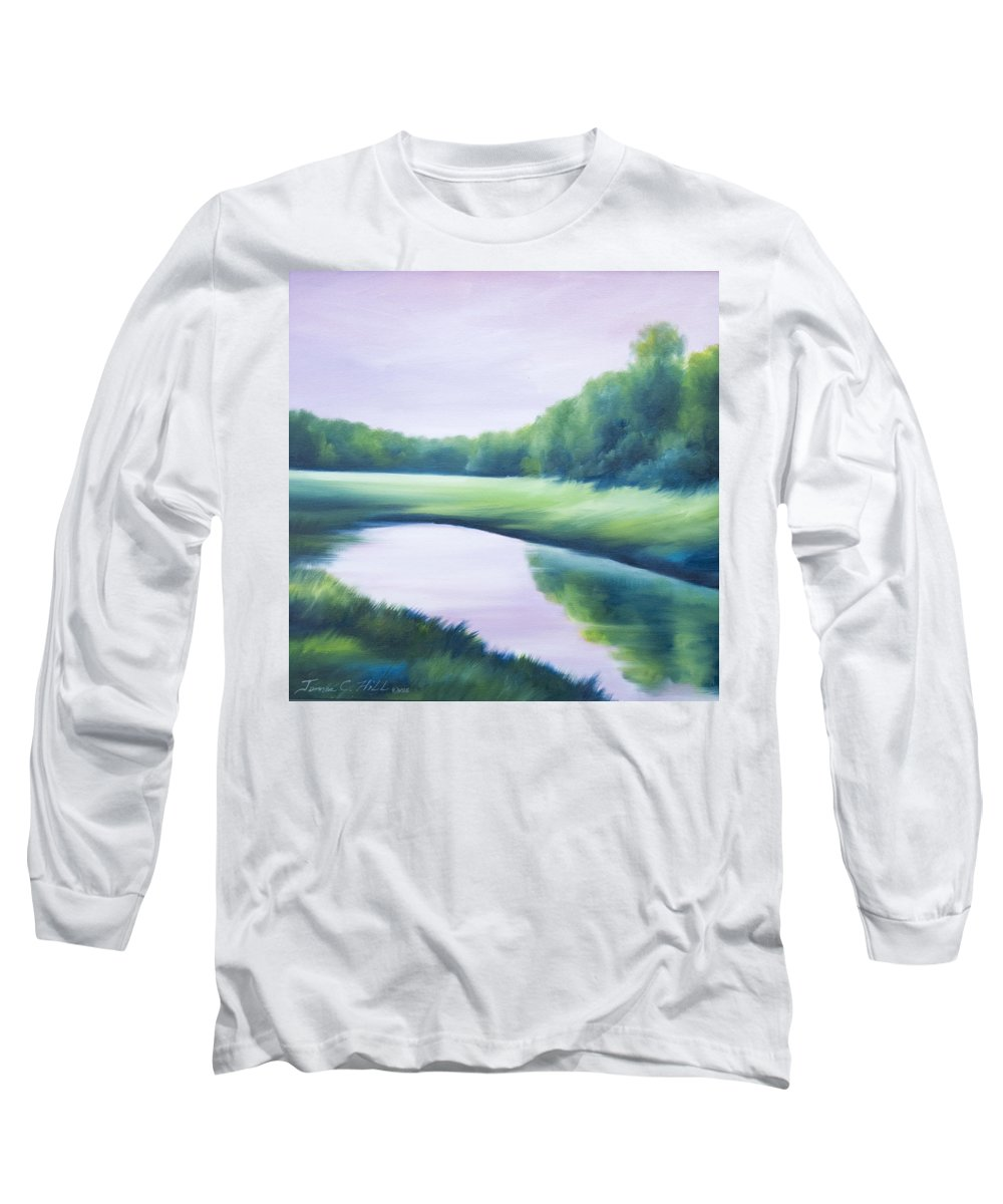 Nature; Lake; Sunset; Sunrise; Serene; Forest; Trees; Water; Ripples; Clearing; Lagoon; James Christopher Hill; Jameshillgallery.com; Foliage; Sky; Realism; Oils; Green; Tree; Blue; Pink; Pond; Lake Long Sleeve T-Shirt featuring the painting A Day In The Life 1 by James Christopher Hill