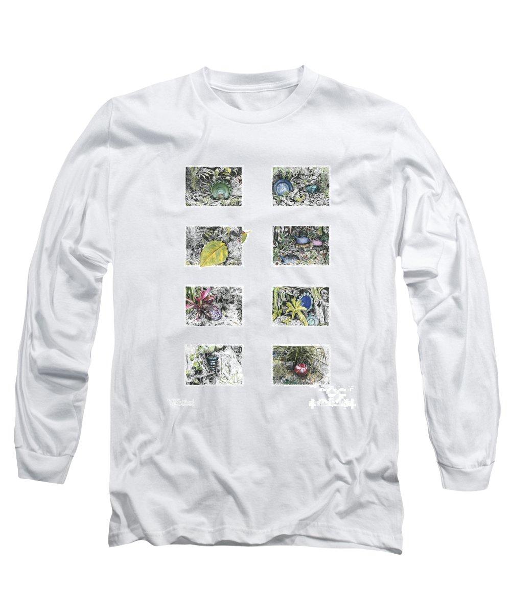 Tropical Long Sleeve T-Shirt featuring the drawing A Potters Garden by Kerryn Madsen-Pietsch