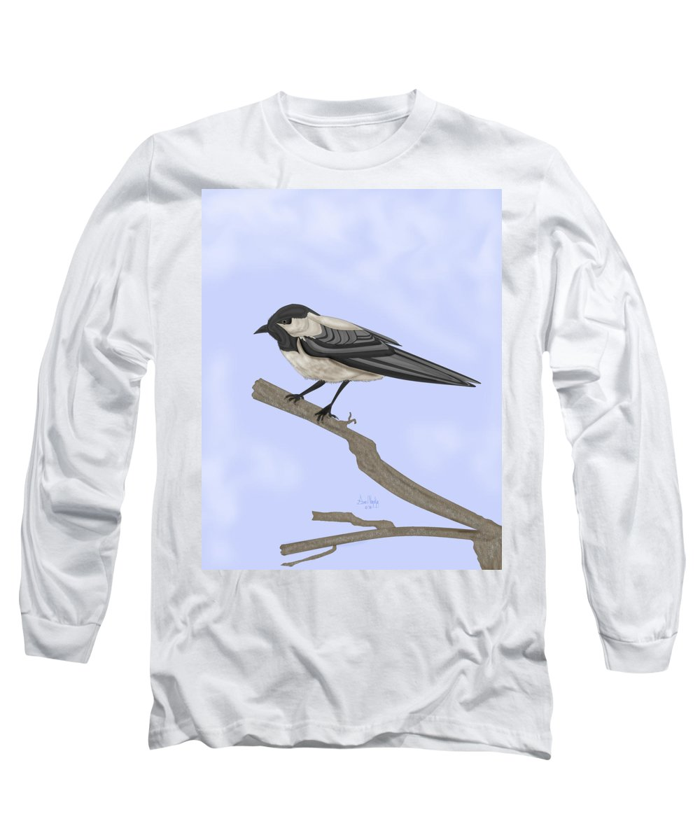 Bird Long Sleeve T-Shirt featuring the painting A Small Guest by Anne Norskog