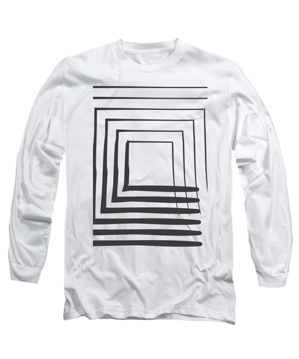Abstract Long Sleeve T-Shirt featuring the digital art Abstract Art Perspective - Square by Melanie Viola