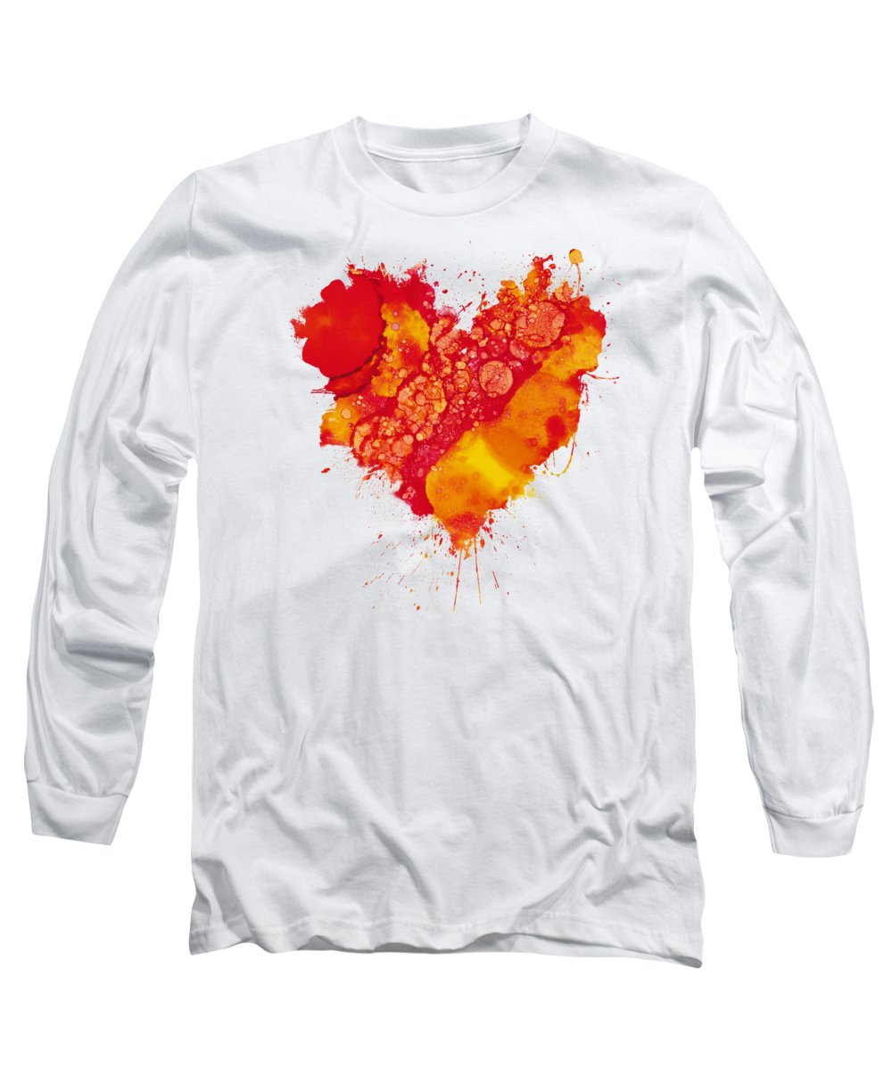 Red Long Sleeve T-Shirt featuring the painting Abstract Intensity by Nikki Marie Smith