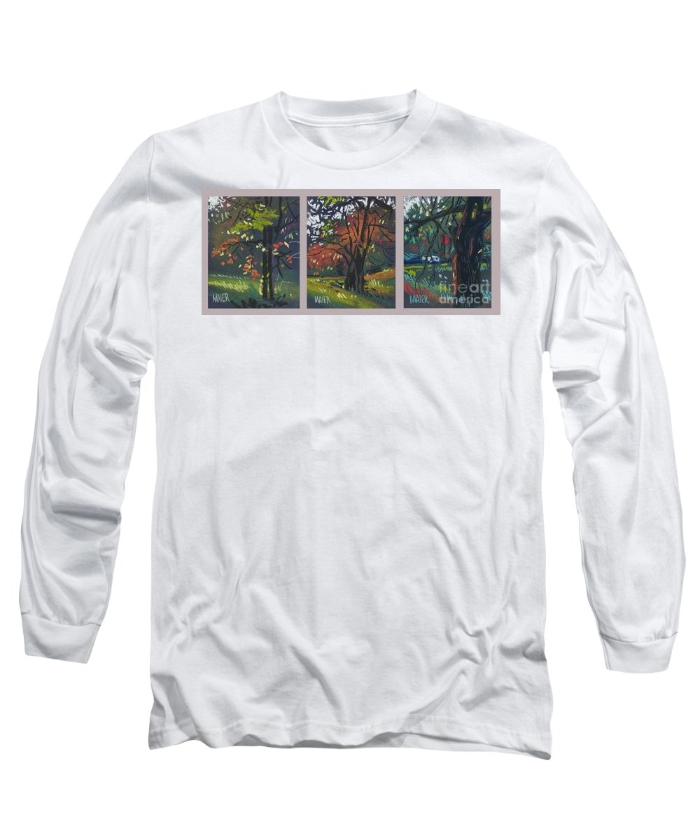 Autumn Foliage Long Sleeve T-Shirt featuring the painting Across The Creek Triplet by Donald Maier