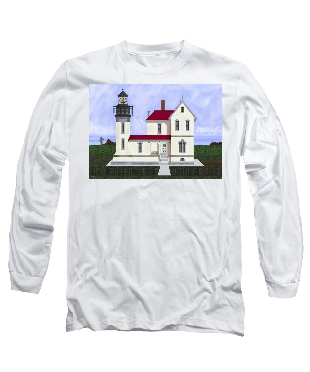 Admiralty Head Long Sleeve T-Shirt featuring the painting Admiralty Head Light Station Circa 1920 by Anne Norskog