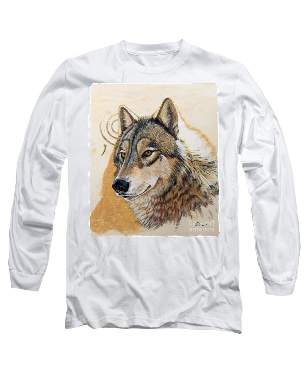 Acrylics Long Sleeve T-Shirt featuring the painting Adobe Gold by Sandi Baker