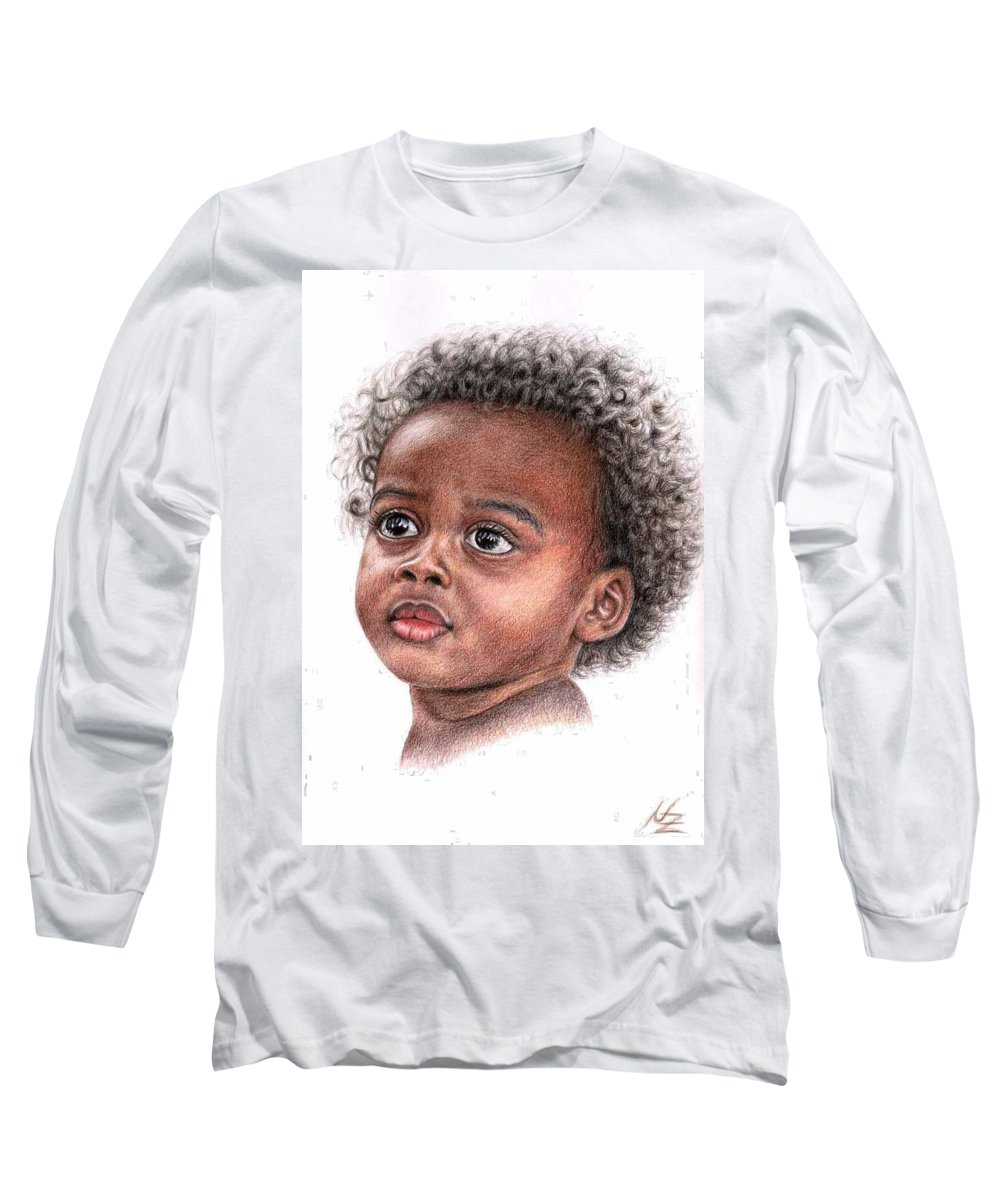 Child Long Sleeve T-Shirt featuring the drawing African Child by Nicole Zeug
