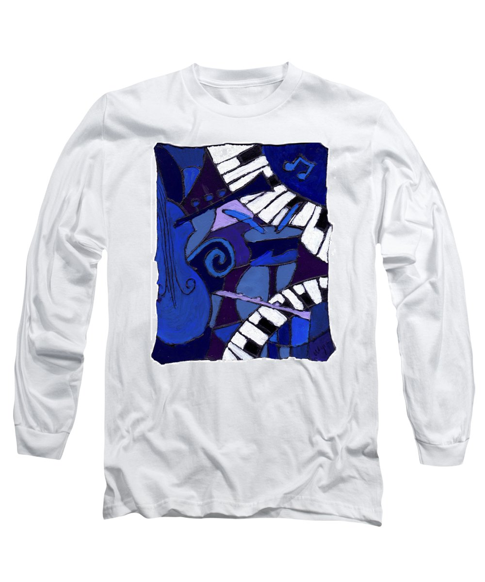 Jazz Long Sleeve T-Shirt featuring the painting All That Jazz 3 by Wayne Potrafka