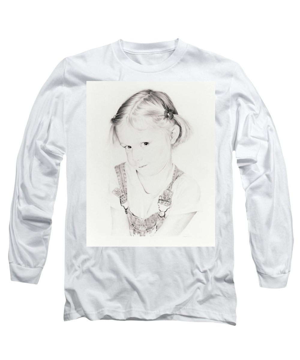 Portrait Long Sleeve T-Shirt featuring the drawing Almost Perfect by Rachel Christine Nowicki