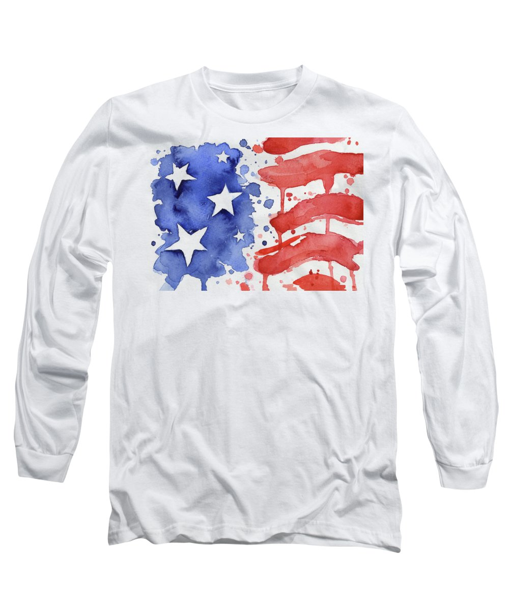 Red Long Sleeve T-Shirt featuring the painting American Flag Watercolor Painting by Olga Shvartsur