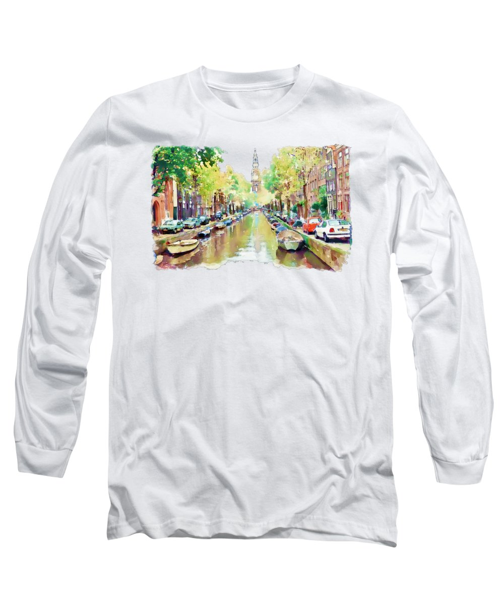 Amsterdam Canal Long Sleeve T-Shirt featuring the painting Amsterdam Canal 2 by Marian Voicu
