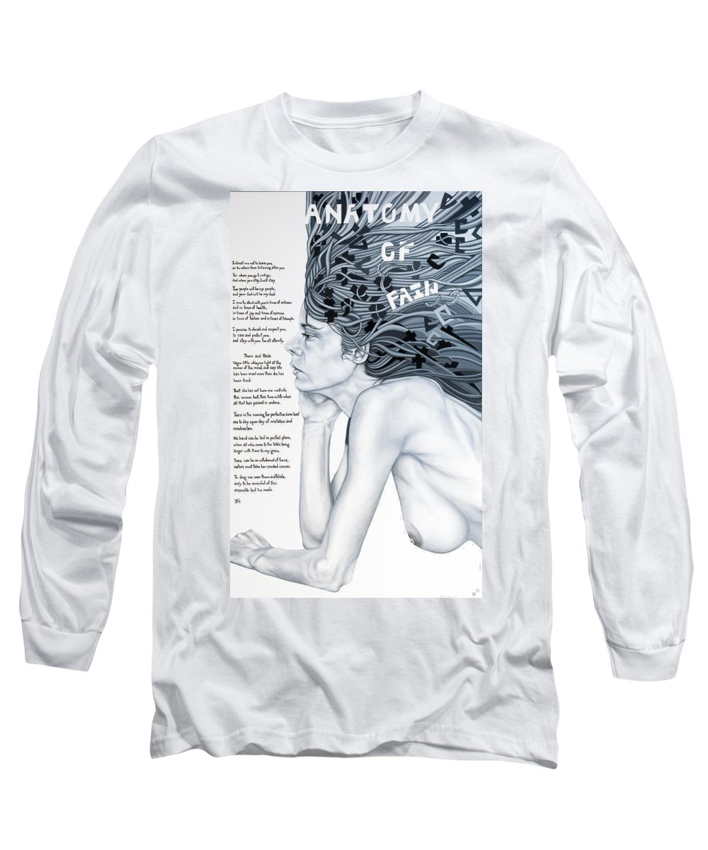 Poetry Long Sleeve T-Shirt featuring the painting Anatomy Of Pain by Judy Henninger