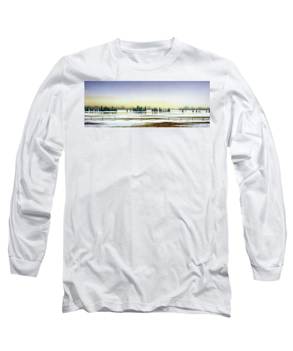 Rural Landscape Long Sleeve T-Shirt featuring the painting April Evening by Conrad Mieschke