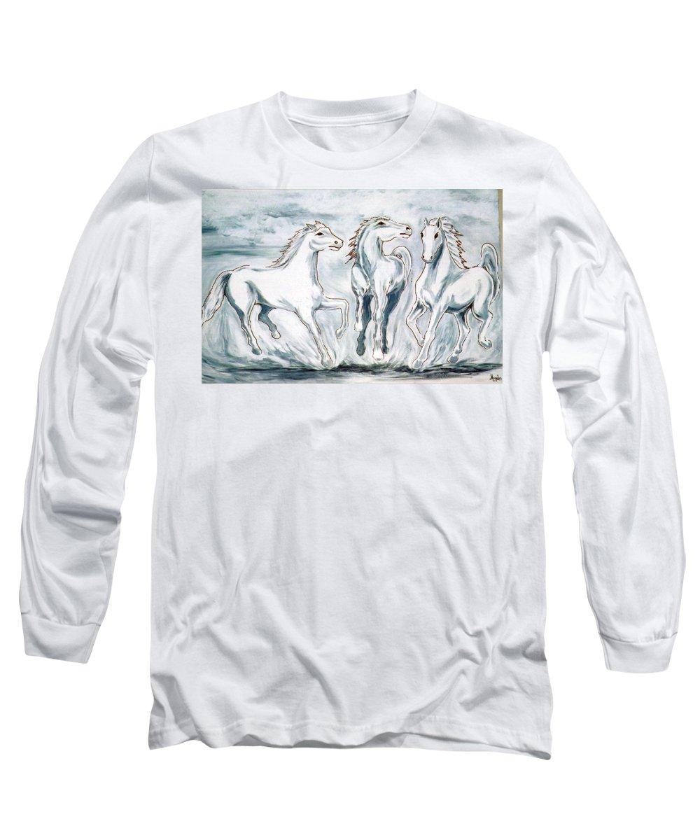 Horses Long Sleeve T-Shirt featuring the painting Arabian Roots by Marco Morales