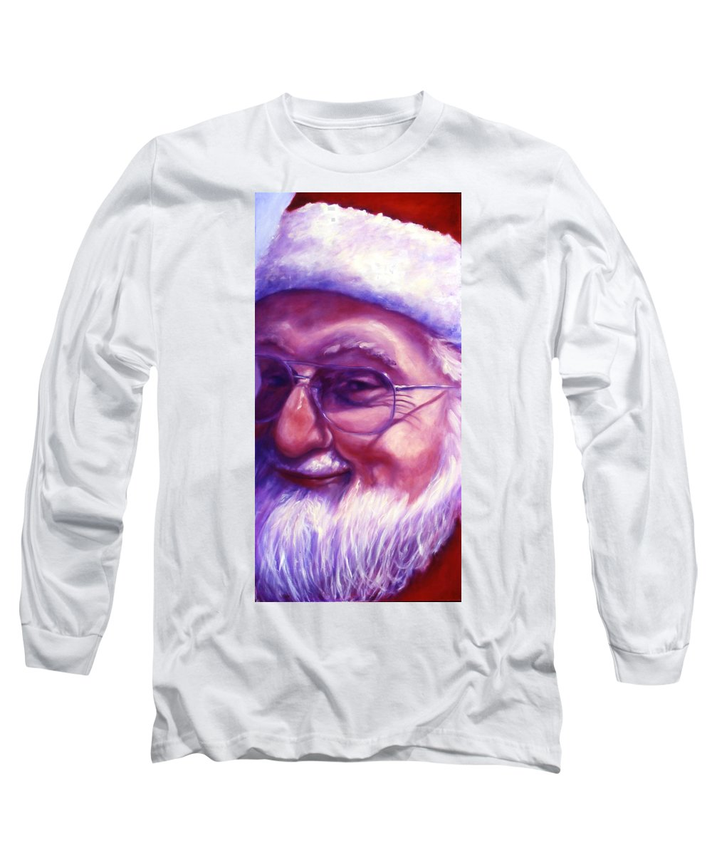 Portrait Long Sleeve T-Shirt featuring the painting Are You Sure You Have Been Nice by Shannon Grissom