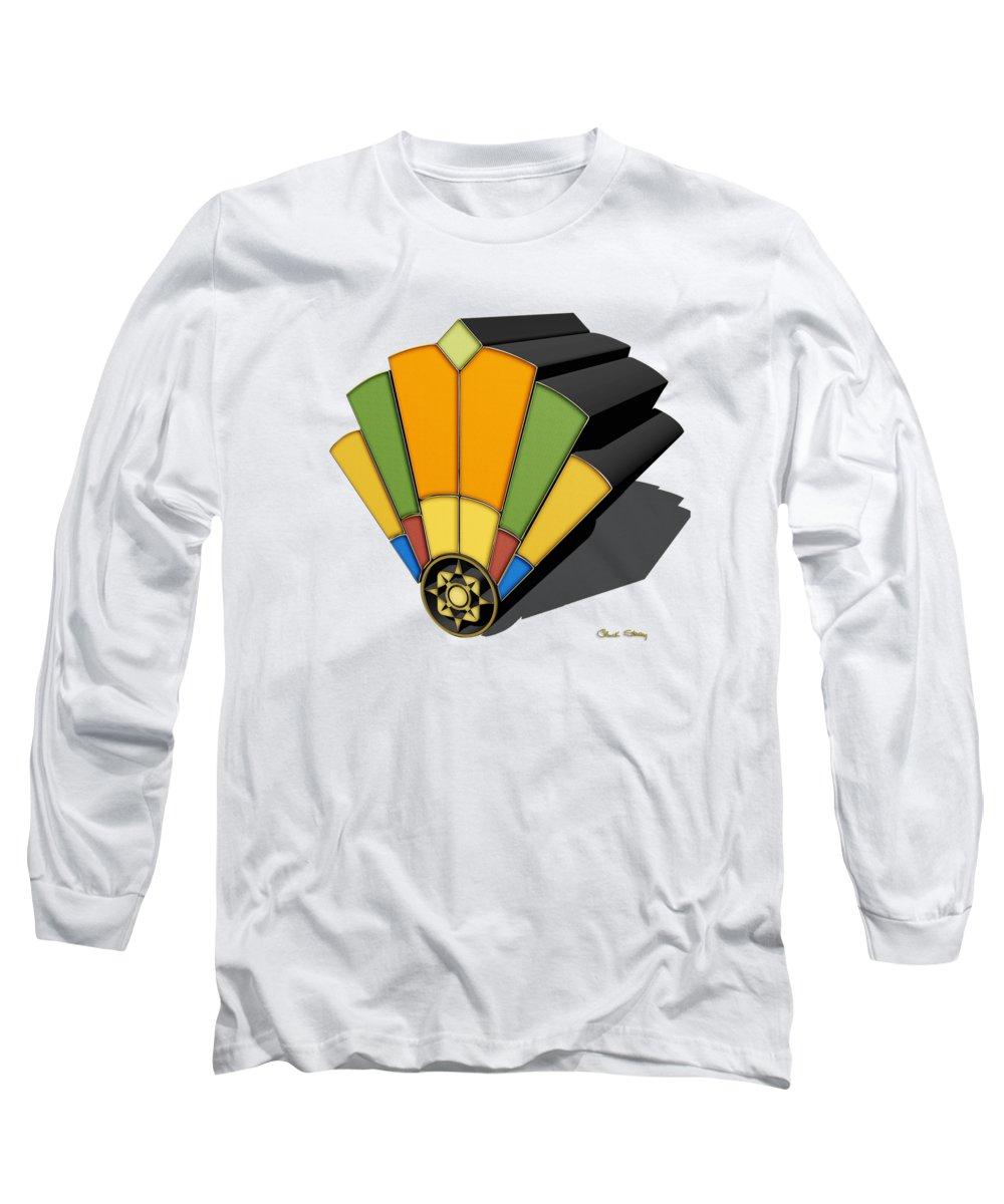 Art Deco Long Sleeve T-Shirt featuring the digital art Art Deco Fan 8 3 D by Chuck Staley