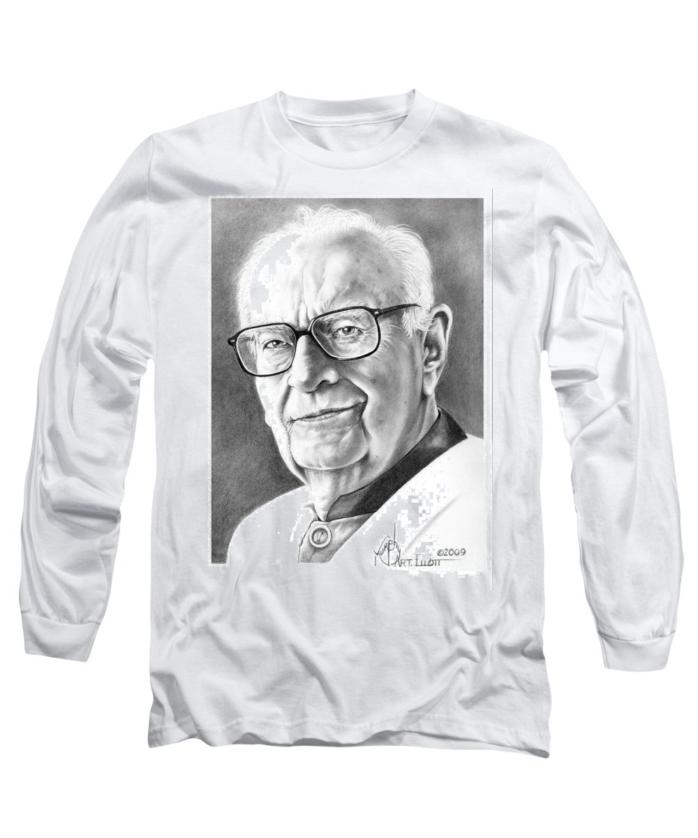 Portrait Long Sleeve T-Shirt featuring the drawing Arthur C. Clarke by Murphy Elliott