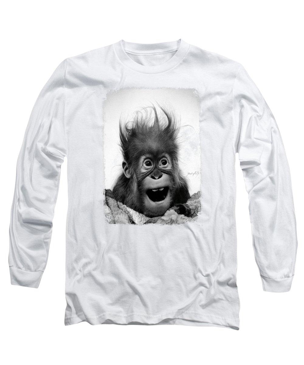 Monkey Long Sleeve T-Shirt featuring the drawing Don't Panic by Miro Gradinscak