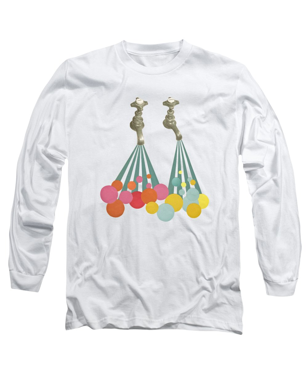 Taps Long Sleeve T-Shirt featuring the mixed media Soapsuds by Cassia Beck