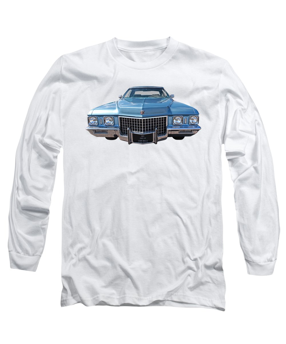 Cadillac Long Sleeve T-Shirt featuring the photograph Seventies Superstar - '71 Cadillac by Gill Billington