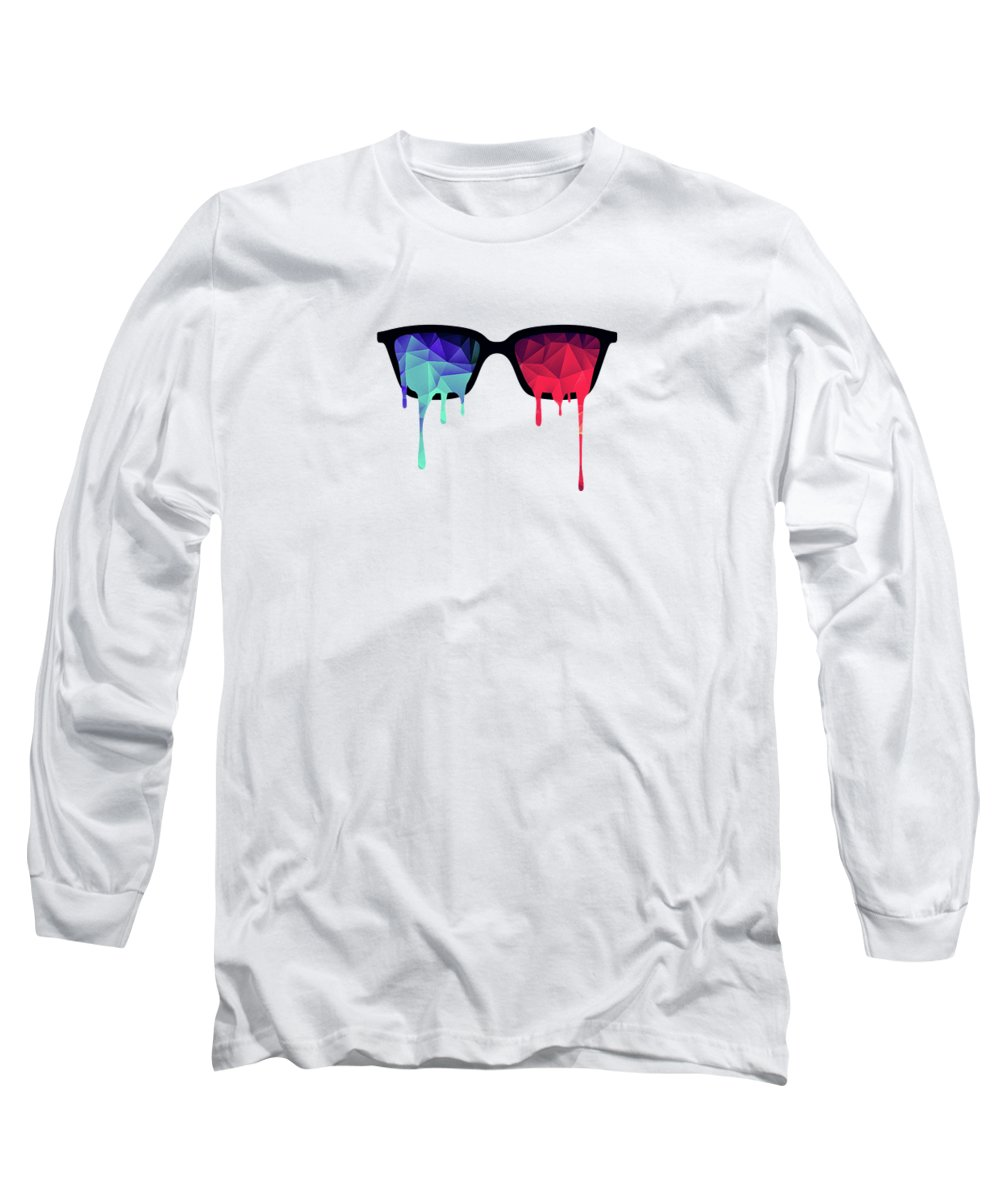 Nerd Long Sleeve T-Shirt featuring the digital art 3D Psychedelic / Goa Meditation Glasses by Philipp Rietz