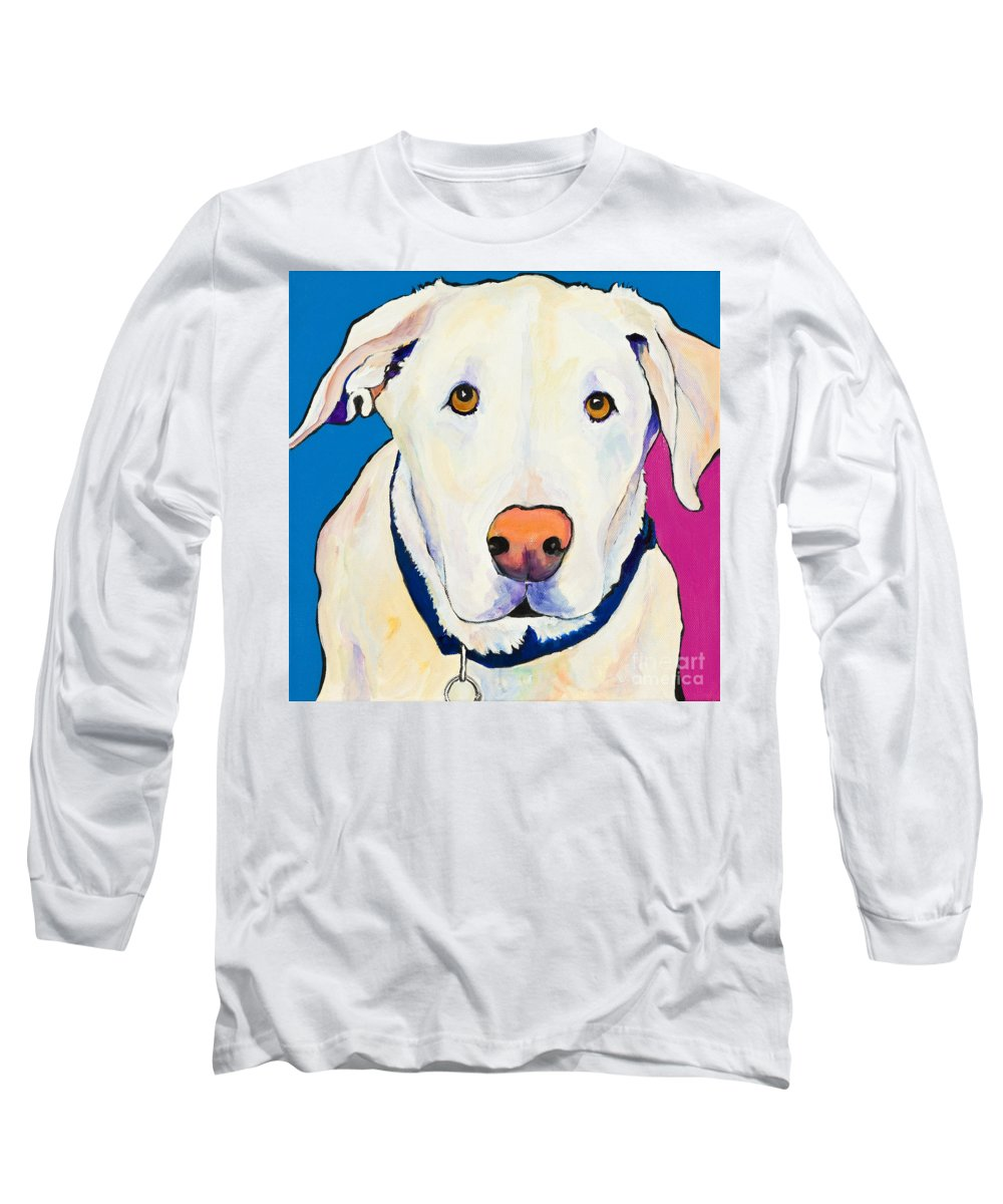 White Lab Yellow Lab Animal Paintings Golden Eyes Square Format Dogs Pets Rescued Long Sleeve T-Shirt featuring the painting Aslinn by Pat Saunders-White