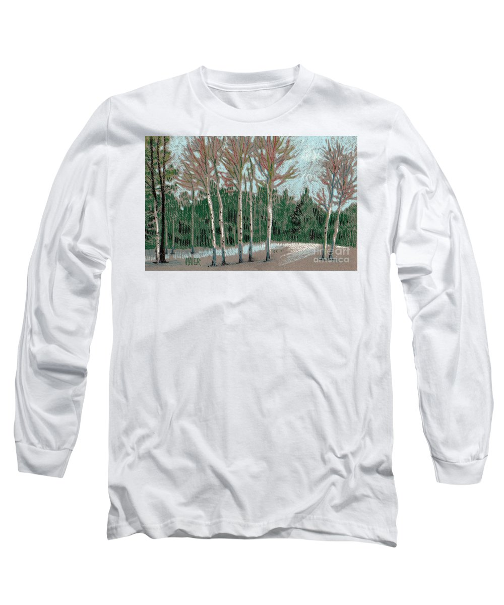 Aspens Long Sleeve T-Shirt featuring the drawing Aspen In The Snow by Donald Maier