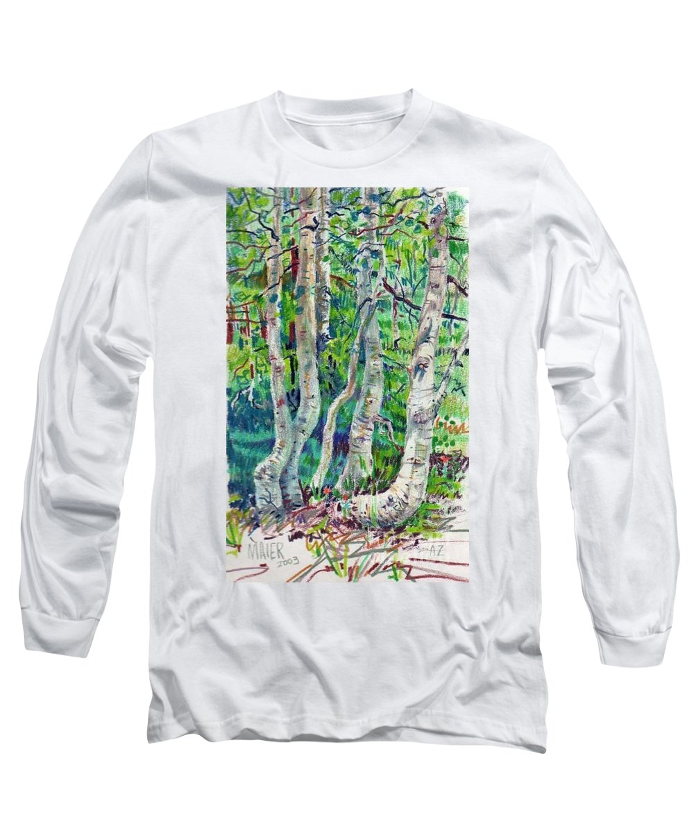 Aspens Long Sleeve T-Shirt featuring the drawing Aspens by Donald Maier