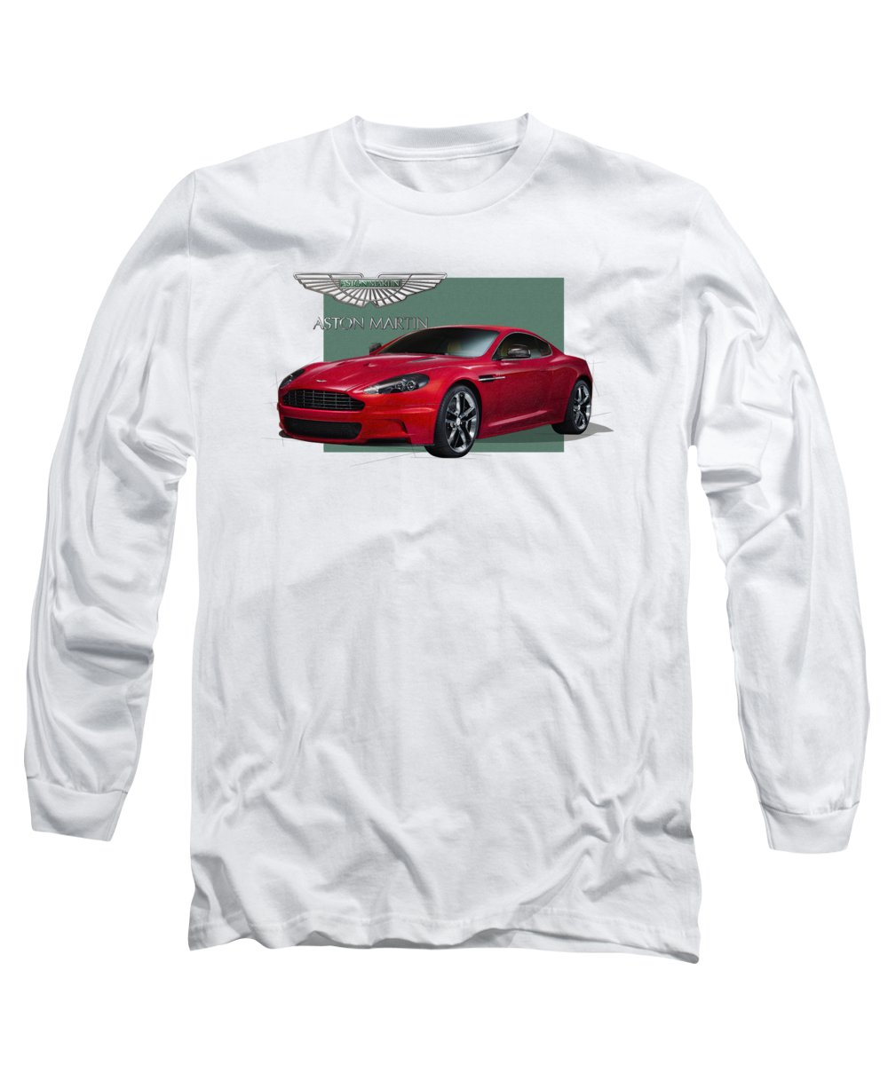 �aston Martin� By Serge Averbukh Long Sleeve T-Shirt featuring the photograph Aston Martin D B S V 12 With 3 D Badge by Serge Averbukh