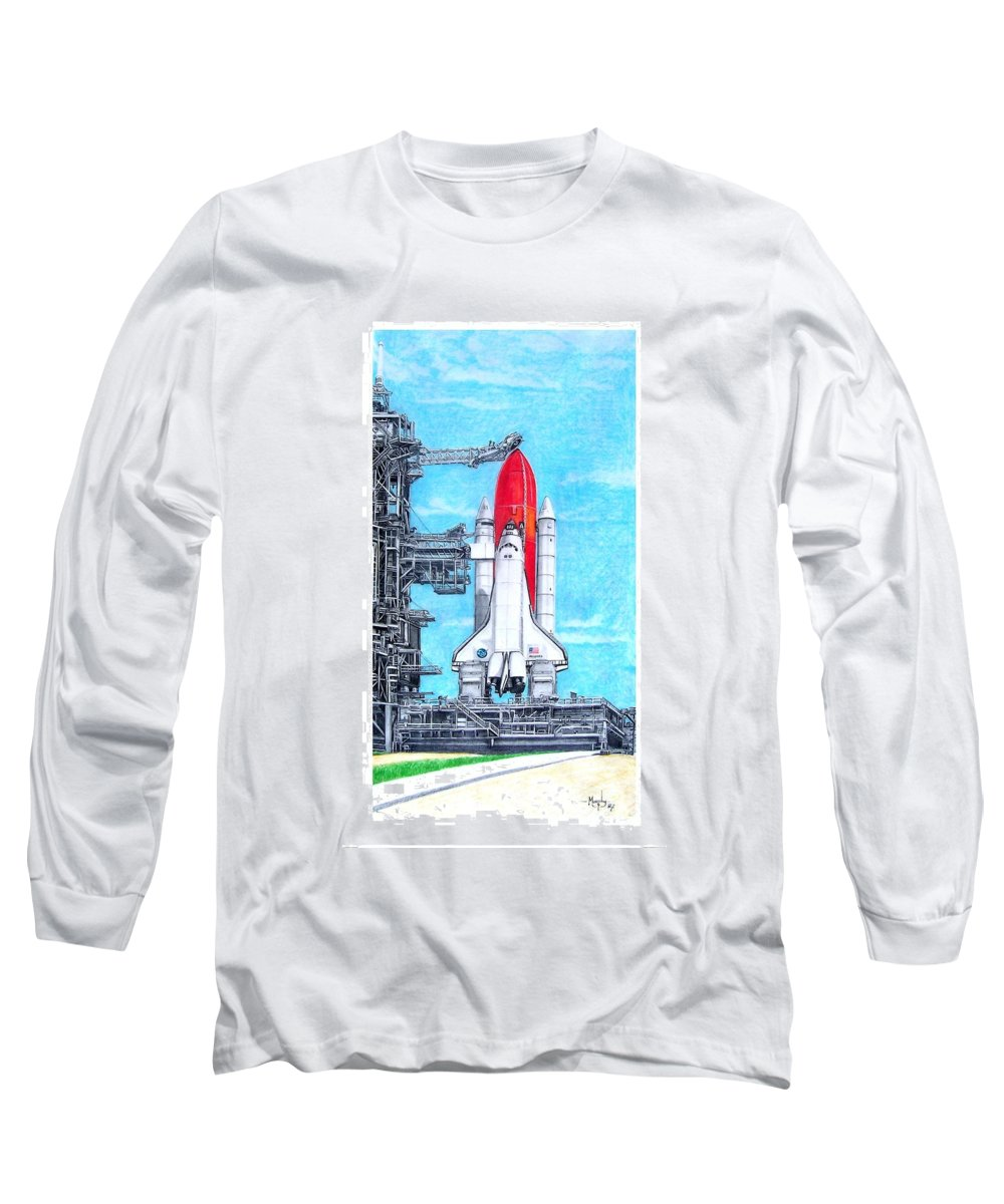 Drawing Long Sleeve T-Shirt featuring the drawing Atlantis by Murphy Elliott