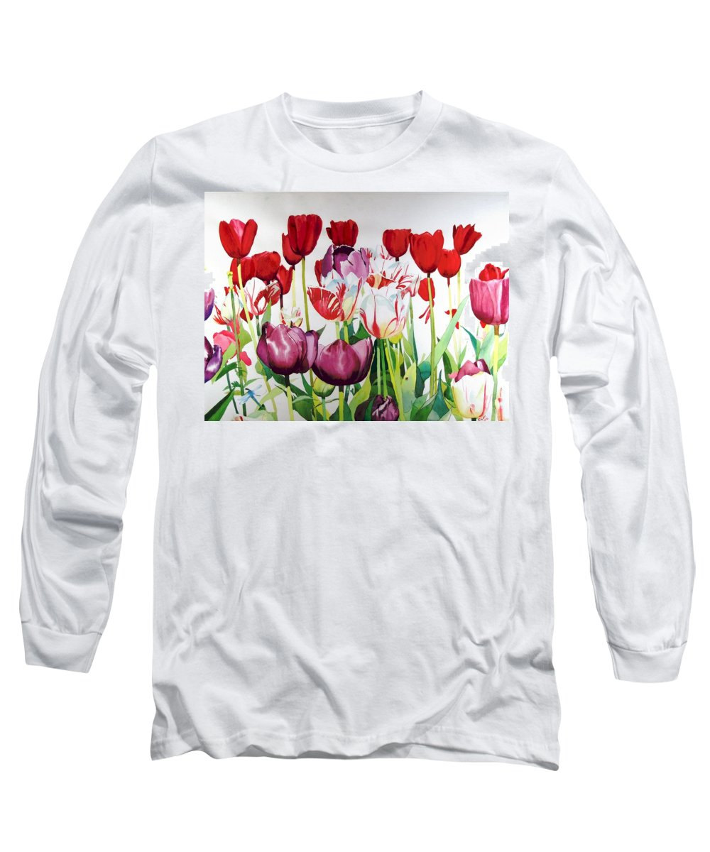 Tulips Long Sleeve T-Shirt featuring the painting Attention by Elizabeth Carr