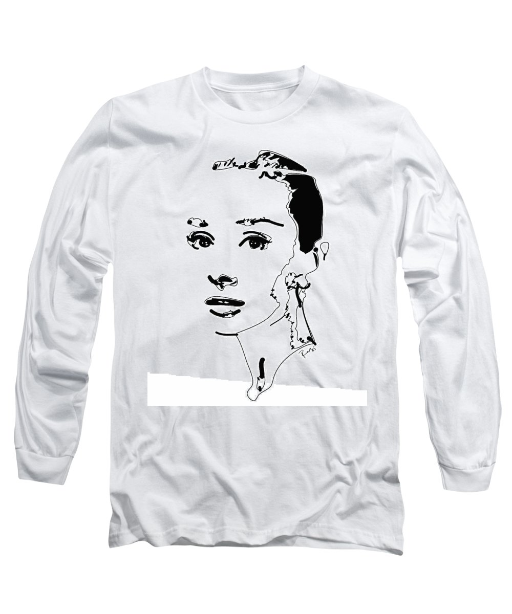 Actress Long Sleeve T-Shirt featuring the digital art Audrey Hepburn by Rabi Khan