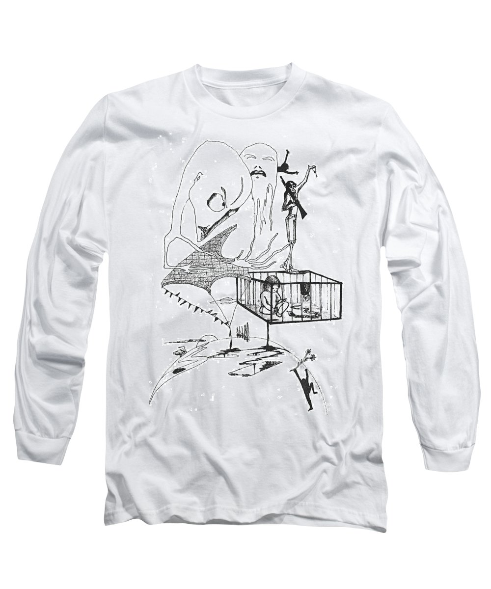 Drawing Pen Automatism Long Sleeve T-Shirt featuring the drawing Automatism by Veronica Jackson