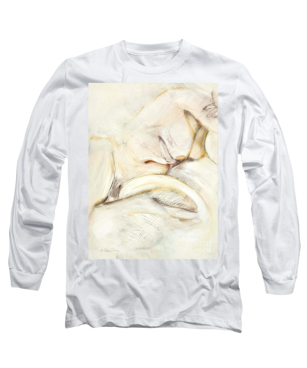 Female Long Sleeve T-Shirt featuring the drawing Award Winning Abstract Nude by Kerryn Madsen-Pietsch