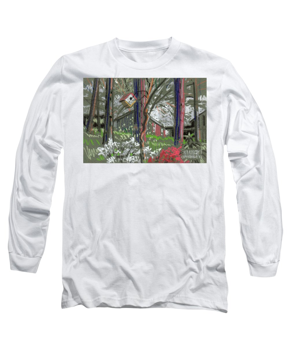 Azalea Long Sleeve T-Shirt featuring the drawing Azaleas In Spring by Donald Maier