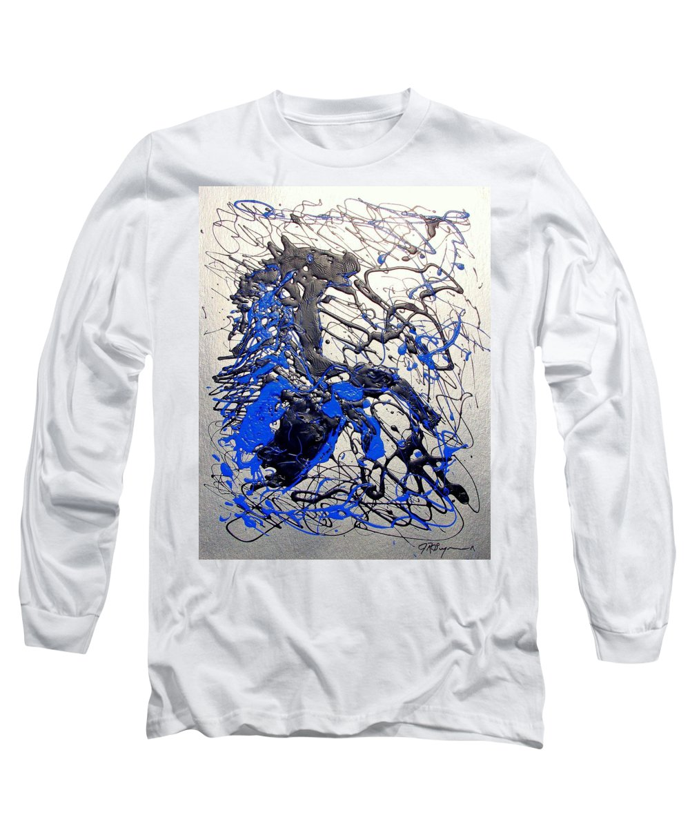 Stallion Horse Long Sleeve T-Shirt featuring the painting Azul Diablo by J R Seymour