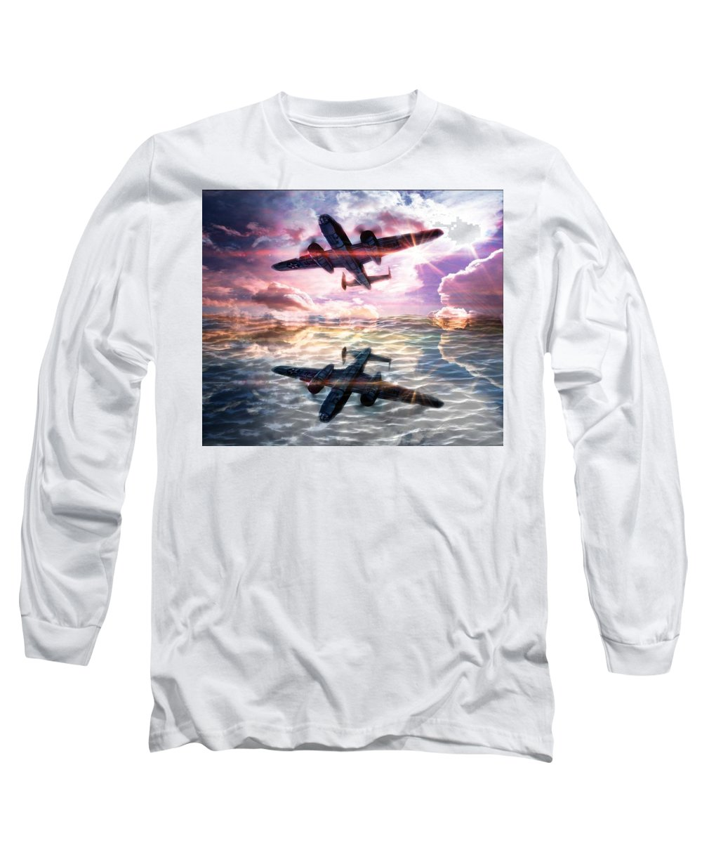 B-25b Usaaf Long Sleeve T-Shirt featuring the digital art B-25b Usaaf by Aaron Berg