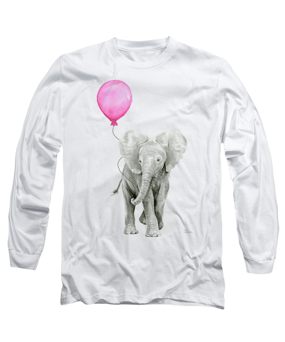 Elephant Long Sleeve T-Shirt featuring the painting Baby Elephant Watercolor by Olga Shvartsur