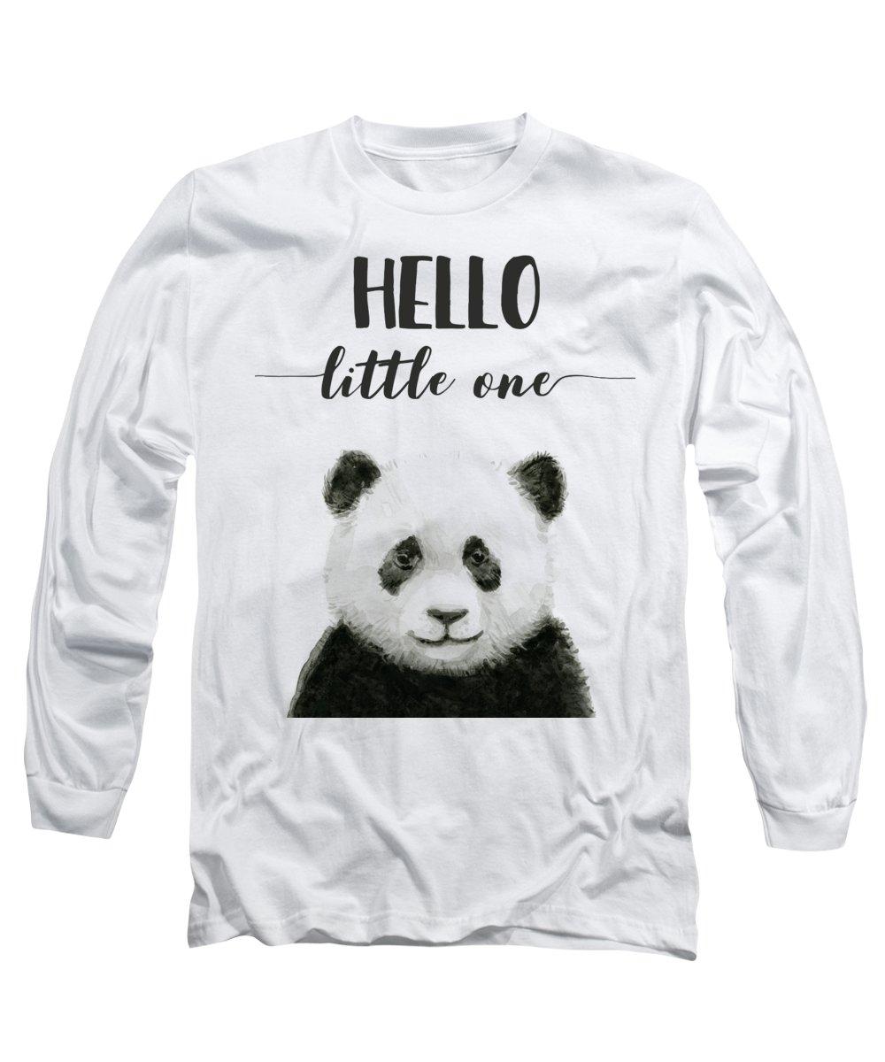 Baby Panda Long Sleeve T-Shirt featuring the painting Baby Panda Hello Little One Nursery Decor by Olga Shvartsur