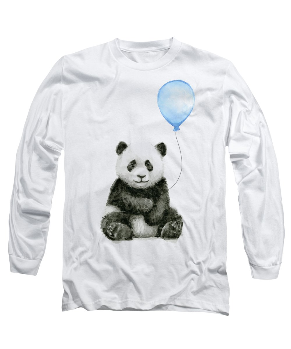 Baby Panda Long Sleeve T-Shirt featuring the painting Baby Panda With Blue Balloon Watercolor by Olga Shvartsur