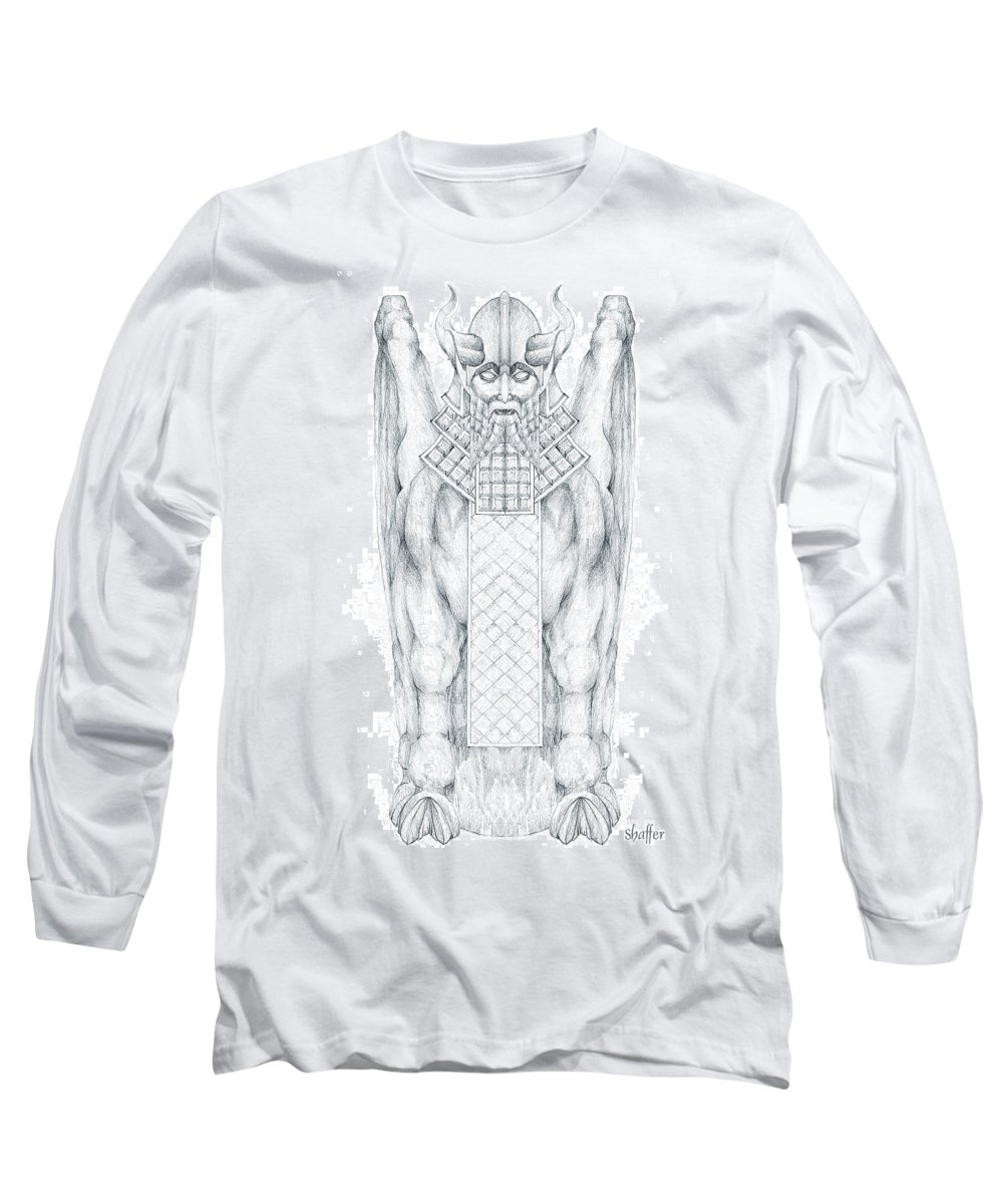 Babylonian Long Sleeve T-Shirt featuring the drawing Babylonian Sphinx Lamassu by Curtiss Shaffer