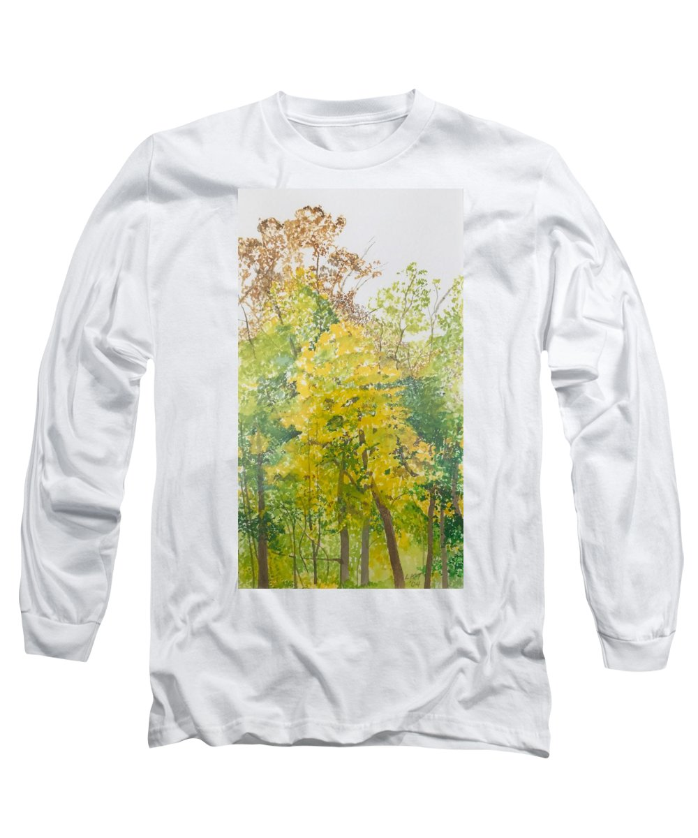 Autumn Long Sleeve T-Shirt featuring the painting Backyard by Leah Tomaino