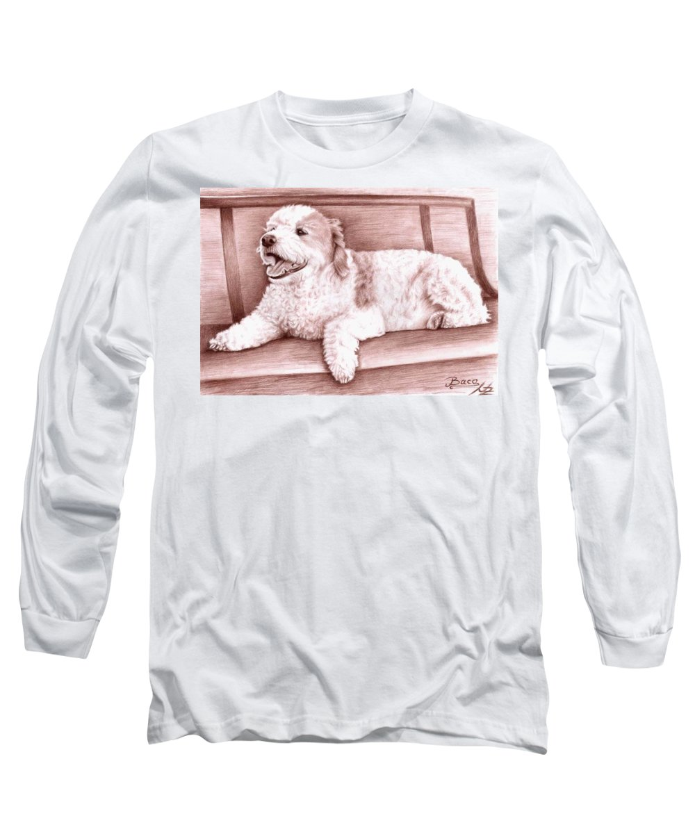 Dog Long Sleeve T-Shirt featuring the drawing Baco by Nicole Zeug